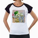 Potato salad in a jar on wooden Women s Cap Sleeve T Front