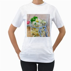 Potato Salad In A Jar On Wooden Women s T Shirt (white) (two Sided)