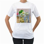Potato salad in a jar on wooden Women s T-Shirt (White) (Two Sided) Front