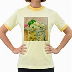 Potato salad in a jar on wooden Women s Fitted Ringer T-Shirts Front