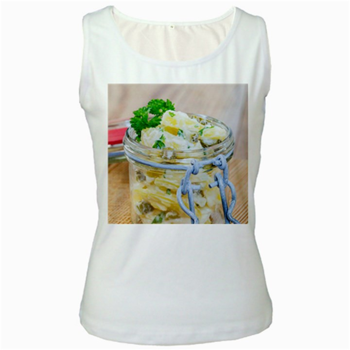 Potato salad in a jar on wooden Women s White Tank Top