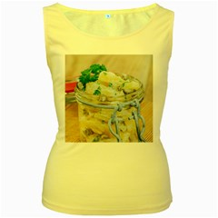 Potato salad in a jar on wooden Women s Yellow Tank Top