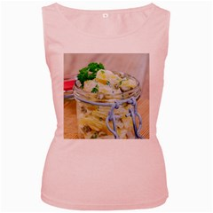 Potato salad in a jar on wooden Women s Pink Tank Top
