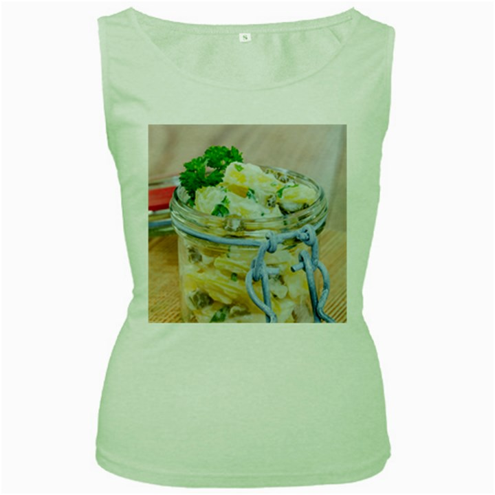 Potato salad in a jar on wooden Women s Green Tank Top