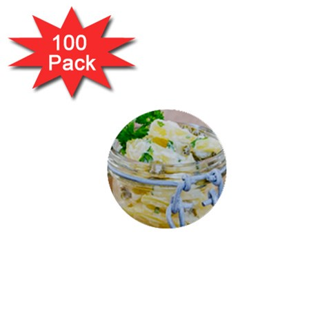 Potato salad in a jar on wooden 1  Mini Buttons (100 pack)