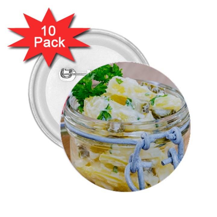 Potato salad in a jar on wooden 2.25  Buttons (10 pack)