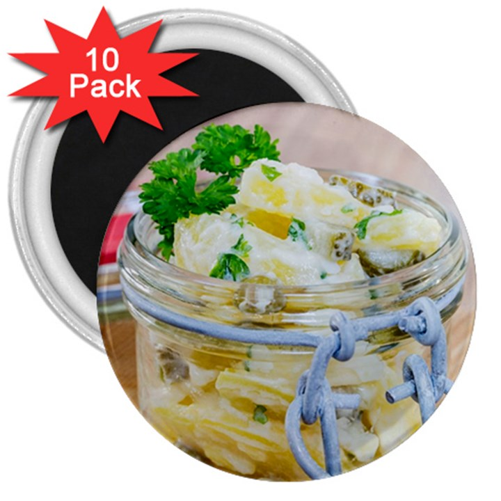 Potato salad in a jar on wooden 3  Magnets (10 pack)