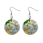 Potato salad in a jar on wooden Mini Button Earrings Front