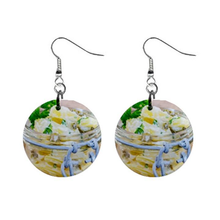 Potato salad in a jar on wooden Mini Button Earrings