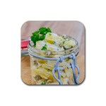 Potato salad in a jar on wooden Rubber Coaster (Square)  Front