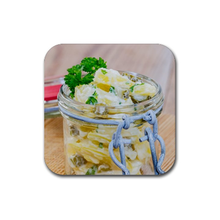 Potato salad in a jar on wooden Rubber Square Coaster (4 pack)