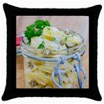 Potato salad in a jar on wooden Throw Pillow Case (Black) Front