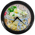 Potato salad in a jar on wooden Wall Clocks (Black) Front