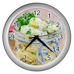 Potato salad in a jar on wooden Wall Clocks (Silver)