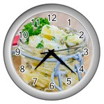 Potato salad in a jar on wooden Wall Clocks (Silver)  Front
