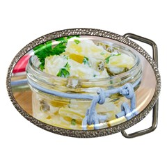 Potato salad in a jar on wooden Belt Buckles