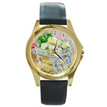 Potato salad in a jar on wooden Round Gold Metal Watch Front
