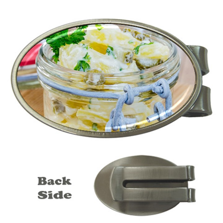 Potato salad in a jar on wooden Money Clips (Oval)