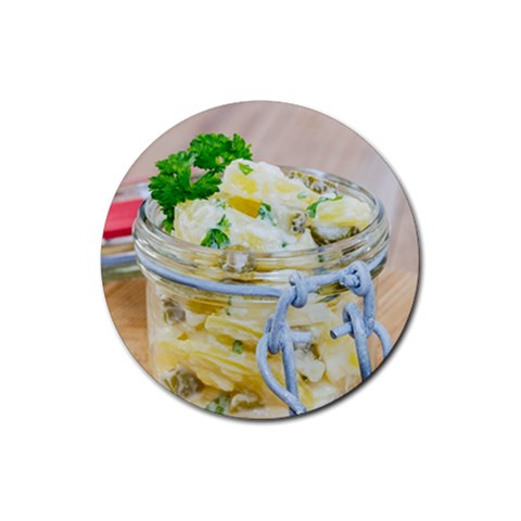 Potato salad in a jar on wooden Rubber Coaster (Round)