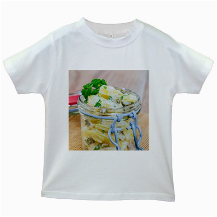 Potato salad in a jar on wooden Kids White T-Shirts
