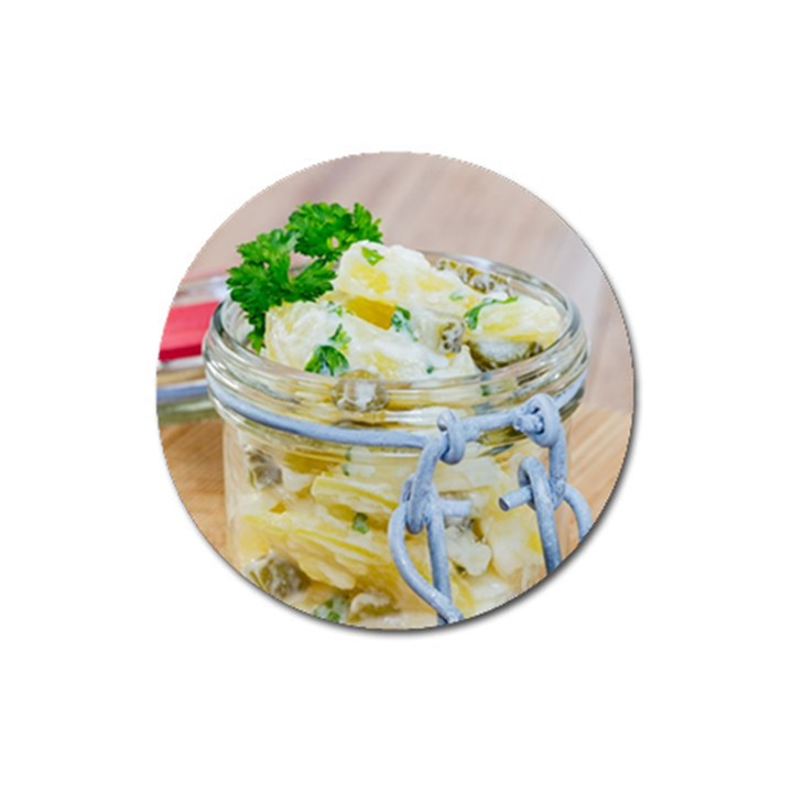 Potato salad in a jar on wooden Magnet 3  (Round)