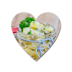 Potato Salad In A Jar On Wooden Heart Magnet