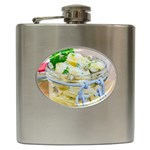 Potato salad in a jar on wooden Hip Flask (6 oz) Front