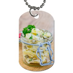 Potato salad in a jar on wooden Dog Tag (Two Sides)