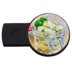 Potato salad in a jar on wooden USB Flash Drive Round (1 GB)