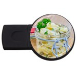 Potato salad in a jar on wooden USB Flash Drive Round (1 GB)  Front