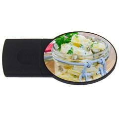 Potato salad in a jar on wooden USB Flash Drive Oval (2 GB)