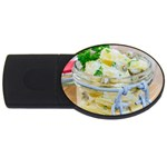 Potato salad in a jar on wooden USB Flash Drive Oval (1 GB)  Front