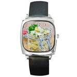 Potato salad in a jar on wooden Square Metal Watch Front