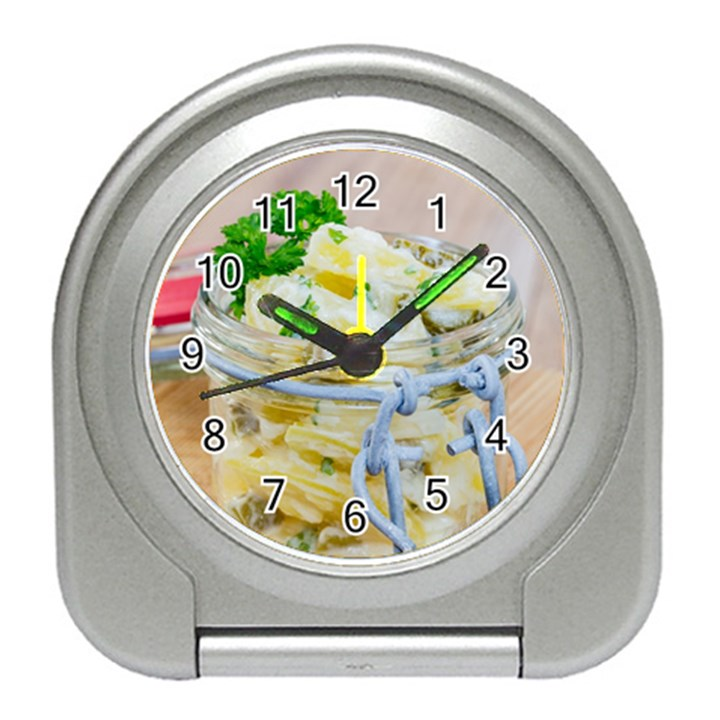 Potato salad in a jar on wooden Travel Alarm Clocks