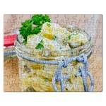 Potato salad in a jar on wooden Rectangular Jigsaw Puzzl Front