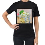 Potato salad in a jar on wooden Women s T-Shirt (Black) (Two Sided) Front