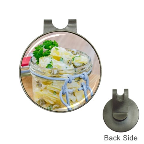 Potato salad in a jar on wooden Hat Clips with Golf Markers