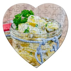 Potato salad in a jar on wooden Jigsaw Puzzle (Heart)