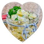 Potato salad in a jar on wooden Jigsaw Puzzle (Heart) Front