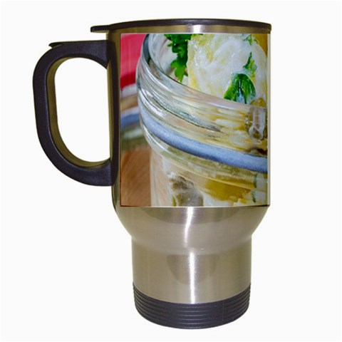 Potato salad in a jar on wooden Travel Mugs (White)
