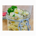 Potato salad in a jar on wooden Small Glasses Cloth Front