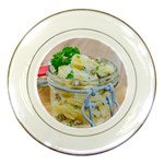 Potato salad in a jar on wooden Porcelain Plates Front