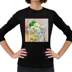 Potato salad in a jar on wooden Women s Long Sleeve Dark T-Shirts
