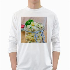 Potato Salad In A Jar On Wooden White Long Sleeve T Shirts