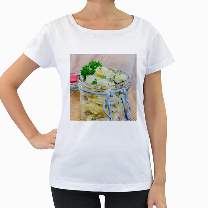 Potato salad in a jar on wooden Women s Loose-Fit T-Shirt (White)