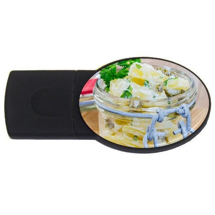 Potato salad in a jar on wooden USB Flash Drive Oval (4 GB)