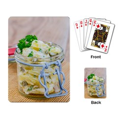 Potato Salad In A Jar On Wooden Playing Card
