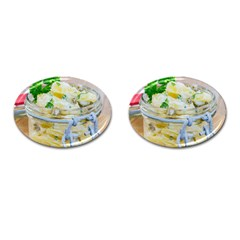Potato Salad In A Jar On Wooden Cufflinks (oval)
