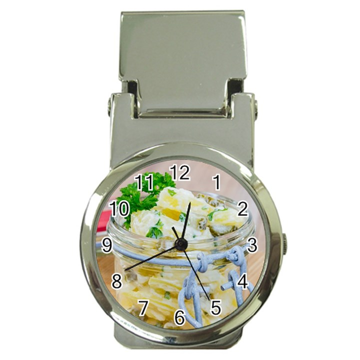 Potato salad in a jar on wooden Money Clip Watches
