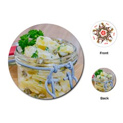 Potato salad in a jar on wooden Playing Cards (Round)